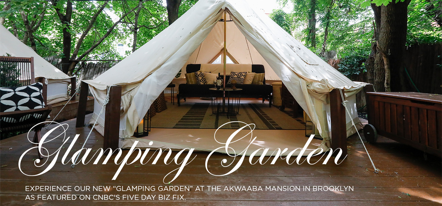 "Experience our ""Glamping Garden"" at the Akwaaba Mansion."